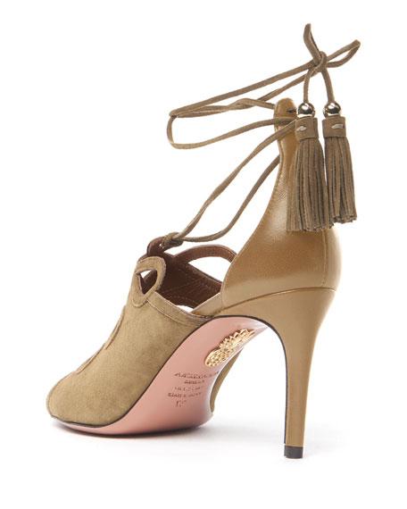 Sergeant Suede Ankle-Tie Sandals, Biscotto