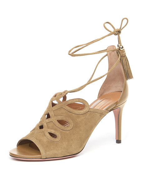 Aquazzura Sergeant Suede Ankle-Tie Sandal, Biscotto