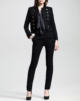 Saint Laurent Cropped Band Jacket, Dotted Neck Tie Blouse & Leather-Trim Tuxedo Pants
