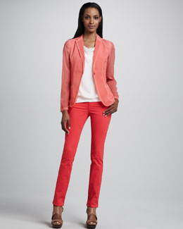 Elie Tahari Abby Snap-Button Sheer Jacket, Deonne Chiffon Banded Knit Top & Vanessa Jeans