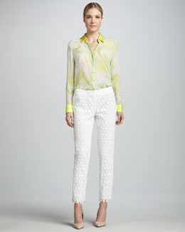 Elie Tahari Chelsea Printed Blouse & Lindley Lace Pants
