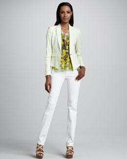 Elie Tahari Minka One-Button Jacket, Selena Tropical-Print Ruffle Blouse & Adena Straight-Leg Jeans