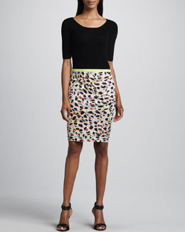 Elie Tahari Darcey Sweater & Kim Printed Pencil Skirt