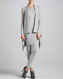 Donna Karan Sleeveless Drape-Front Cashmere Cozy, Long-Sleeve Wide-Neck Top, Double-Layer Skirt & Stretch Melange Leggings