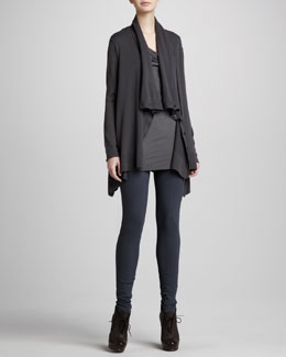 Donna Karan Drape-Neck Asymmetric Cardigan, Draped Cap-Sleeve Top & Seamed Leggings