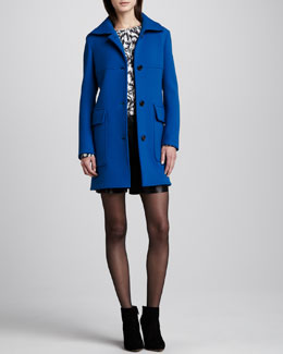 Derek Lam Patch Pocket Coat, Printed Silk Blouse & Leather Crisscross-Waist Shorts