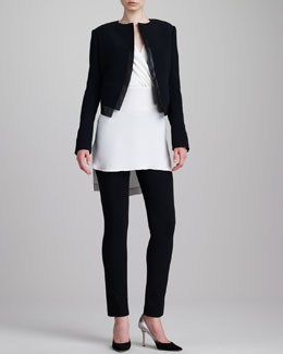 Derek Lam Faux Leather-Trimmed Bolero, Silk Surplice Tunic Blouse & Classic Leggings