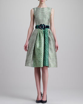 Oscar de la Renta Check-Print Jewel-Neck Dress & Wide Patent Leather Two-Tone Belt