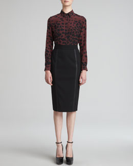 Burberry London Animal-Print Blouse & Leather Trim Skirt