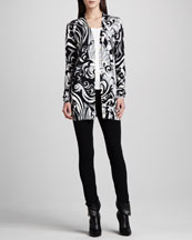 Emilio Pucci Long Printed Silk Cardigan & Ankle-Length Leggings