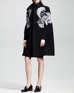 Stella McCartney Embroidered Cape Coat & Classic Sheath Dress