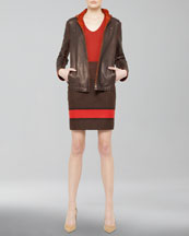 Akris Leather Jacket with Detachable Hood, Colorblock Striped Shirt & Colorblock Pencil Skirt