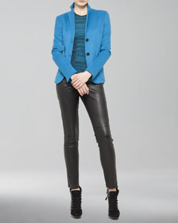 Akris punto Two-Button Wool Blend Blazer, Ribbed-Panel Sweater & Seamed Leather Ankle Pants