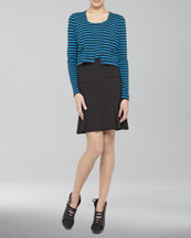 Akris punto Cropped Striped Cardigan, Striped Knit Tank & Dropped Godet Skirt