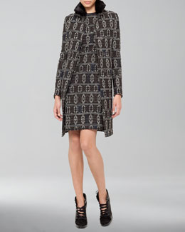 Akris punto Southwestern-Print Jacquard Coat and Southwester-Print Shift Dress