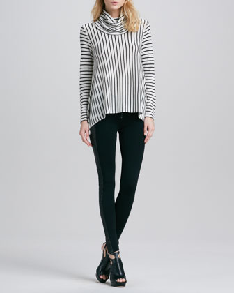 Striped Draped Turtleneck & Ponte/Leather Combo Leggings