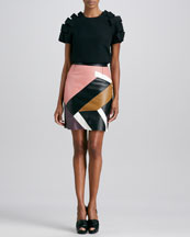 Fendi Layered Ribbon-Sleeve Top and Mondrian Patchwork Leather Skirt