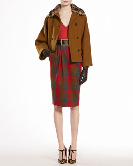 Gucci Wool Natte Caban with Jaguar Printed Mink Collar & Merino V-Neck Top with Brooch