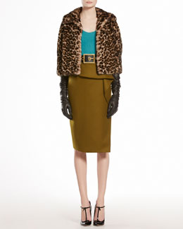 Gucci Jaguar Printed Mink Fur Cape, Angora Round Neck Top & Stretch Flannel Flounce Skirt