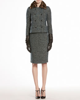 Gucci Boucle Jacket with Printed Mink Collar & Merino V-Neck Top with Brooch