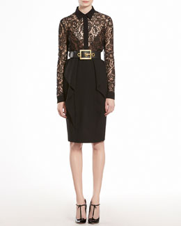 GUCCI Lace Flowers Blouse & Wool Crepe Flounce Pencil Skirt