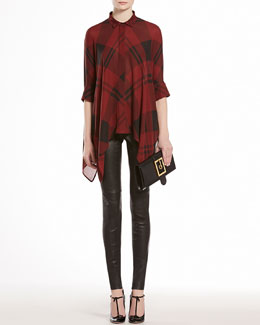 GUCCI Check Print Silk Georgette Cape Shirt & Napa Leather Leggings