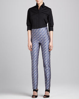 Carolina Herrera Three-Quarter Sleeve Classic Shirt & Pansy-Patterned Straight-Leg Pants