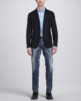 Dolce & Gabbana Knit Jersey Blazer, Gold-Fit Woven Shirt & Mid-Rise Distressed Jeans