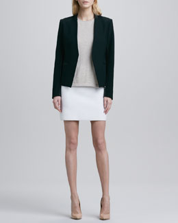 Theory Lanai Leather-Trim Jacket, Lulina Slub Wool Top & Holleen Ridged Pencil Skirt