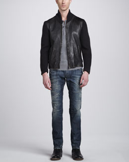 Dolce & Gabbana Leather Jacket with Knit Sleeves, Serafino Crewneck Henley & Mid-Rise Mended Blue Jeans