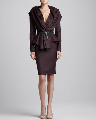 Skyline Jacket, High-Waist Pencil Skirt & Pre-Knotted Leather Belt