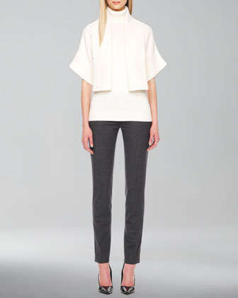 Cashmere-Merino Shawl-Collar Shrug, Rib-Trim Sleeveless Turtleneck & Samantha Skinny Pants