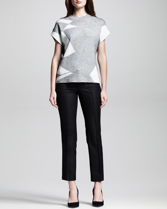 Short-Sleeve Patchwork Pullover & Seamed Stovepipe Ankle Pants