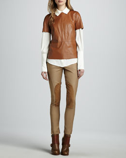Rachel Zoe Janette Short-Sleeve Leather Blouse, Beatrice Long-Sleeve Blouse & Julietta Cropped Riding Pants