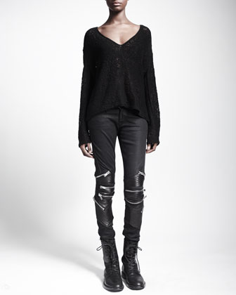 V-Neck Macrame Sweater & Zip and Leather-Detail Jeans