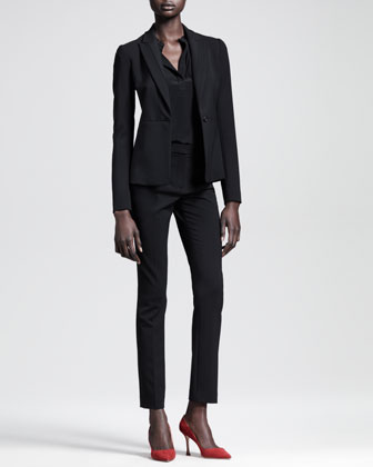 Seamed Single-Button Jacket, Silk-Front Jersey Top & Skinny Ankle Pants