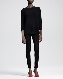 THE ROW Textured Cashmere-Silk Crewneck Sweater and Ankle-Zip Combo Skinny Pants