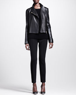 THE ROW Knit-Panel Moto Jacket, Scoop-Neck Cashmere Top & Stretch-Scuba Skinny Pants
