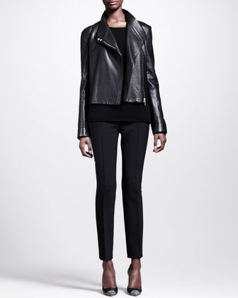 Knit-Panel Moto Jacket, Scoop-Neck Cashmere Top & Stretch-Scuba Skinny Pants