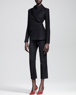 THE ROW Leaf Jacquard Jacket, Pleat-Back Silk Crepe Top & Cropped Straight-Leg Pants