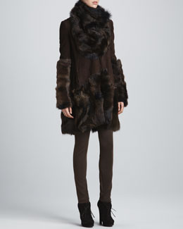 Donna Karan Draped Suede Jacket, Shearling Cowl-Neck Collar, Shearling Arm Cuffs & Pull-On Seamed Pants