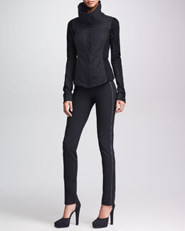 Donna Karan Rubberized Leather Jacket, Sleeveless Draped V-Neck Top & Slim Leather-Stripe Straight-Leg Pants