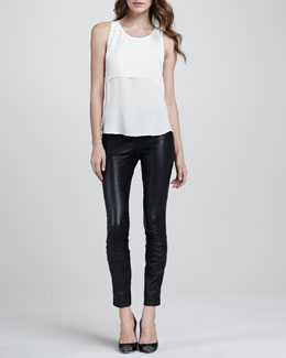 Theory Sondray Layered Silk Blouse & Belisa Danish Leather Pants