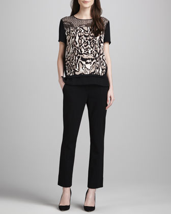 Becky Printed Blouse & Carissa Cropped Ponte Knit Pants