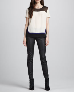 Diane von Furstenberg Becky Layered Short-Sleeve Blouse & Liberty Leather Pants