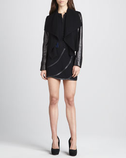 Diane von Furstenberg Olympia Draped Front Jacket, Etta Long-Sleeve Chiffon & Karina Leather Panel Skirt