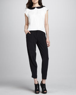 Alice + Olivia Emily Leather-Collar Blouse & Arthur Cuffed Crepe Pants