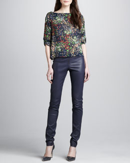 Alice + Olivia Sid Floral-Print Blouse & Leather Zip-Front Leggings