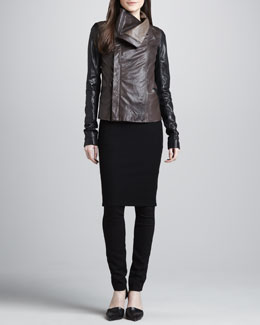Vince Colorblock Leather Jacket, Ribbed-Knit Pencil Dress & Zip-Pocket Skinny Pants