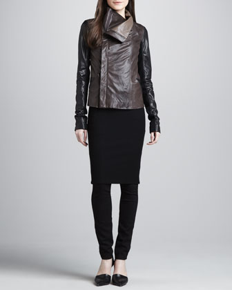Colorblock Leather Jacket, Ribbed-Knit Pencil Dress & Zip-Pocket Skinny Pants